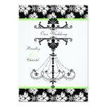 Green,  Black, White Chandelier Wedding Invitation