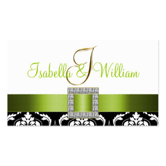 Green Black White Damask Wedding Place Card Pack Of Standard Business Cards