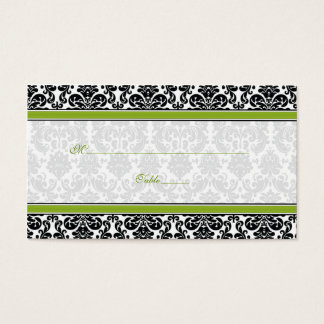 Green, Black, White Damask Wedding Place Cards