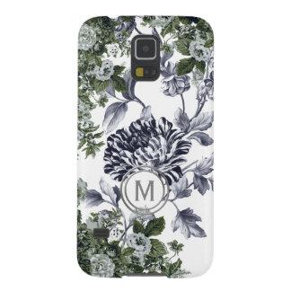 Green Black White Floral Garden Profusion Monogram Case For Galaxy S5