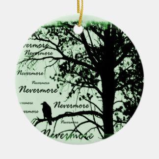 Green Black & White Nevermore Raven Silhouette Christmas Ornament