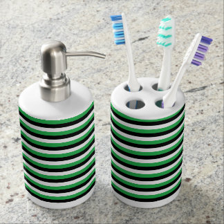 Green, Black, White Stripes Bathroom Set