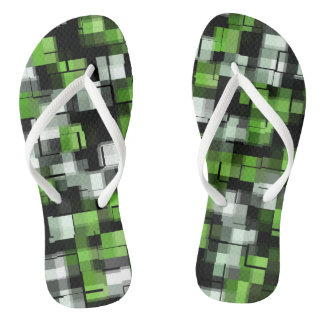Green Black White Trendy Pattern Flip Flops