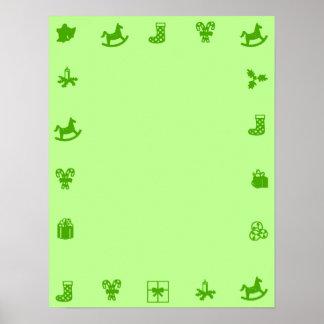 Green Blank Christmas Poster GreenDecorativ Border