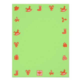 Green Blank Christmas Poster Red Decorative Border