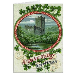 Green Blarney Castle Ireland Shamrock Greeting Card