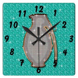 Green Bling Glitter Gem Grenade Clock