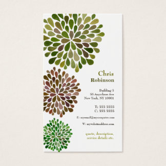 Green Blossom Burst Neutral Business Card