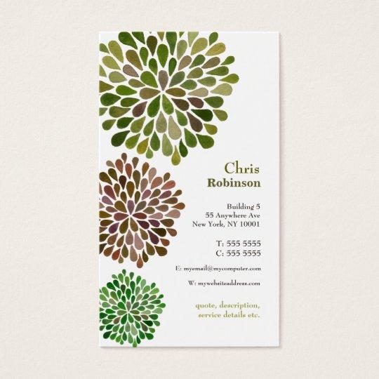 Green Blossom Burst Neutral Business Card