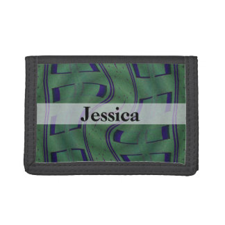 Green Blue Abstract Design Tri-fold Wallets