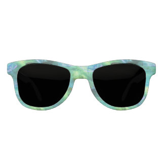 Green Blue Abstract Leaves sunglasses