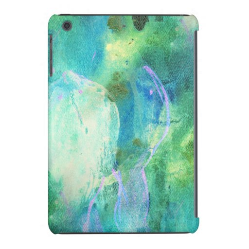 Green Blue Abstract Leaves watercolor print Ipad Mini Case