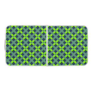 Green, Blue And Kiwi Green Geometric  Pattern Beer Pong Table