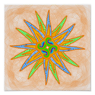 Green, blue, and orange striped star poster