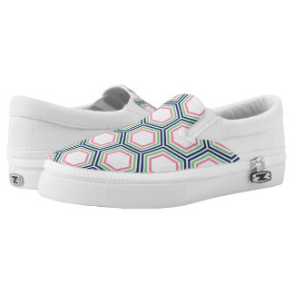 Green Blue and Pink Honeycomb Pattern Printed Shoes