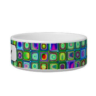 Green Blue And Purple Funky Retro Tiles Pattern Pet Bowl