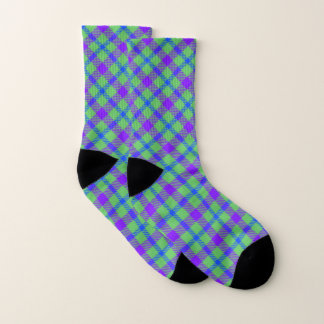 Green, Blue, and Purple Plaid Socks 1