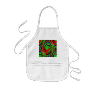 Green blue and red swirl continuous pattern apron