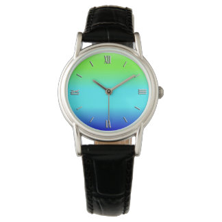 Green, blue and turquoise gradient watches