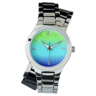Green, blue and turquoise gradient wrist watches