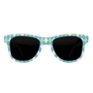 Green Blue and White Argyle Pattern Sunglasses