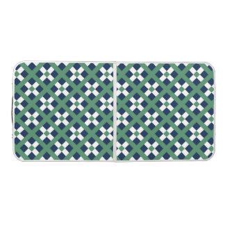 Green, Blue And White Geometric  Pattern Beer Pong Table