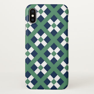 Green, Blue And White Geometric  Pattern iPhone X Case