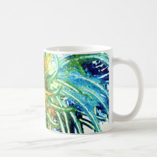 Green Blue And Yellow Abstract Art Spiral Painting Coffee Mug