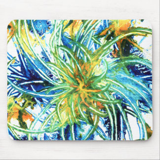 Green Blue And Yellow Abstract Art Spiral Painting Mouse Mat
