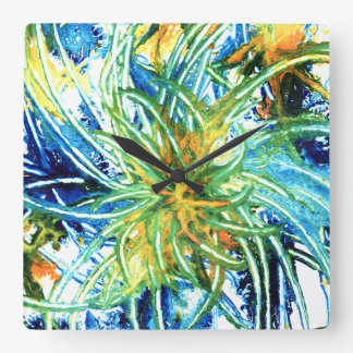 Green Blue And Yellow Abstract Art Spiral Painting Square Wall Clock