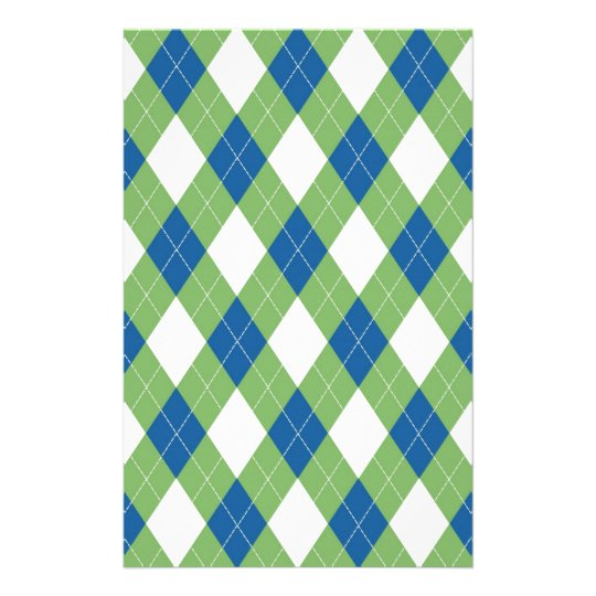 Green blue argyle pattern stationery