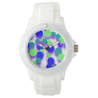 Green Blue Big Spot Dot Sporty White Silicon Watch
