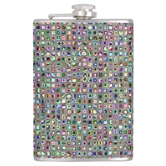 Green-Blue 'Bijoux' Textured Mosaic Tiles Pattern Hip Flask