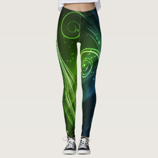 Green , Blue & Black Leggings