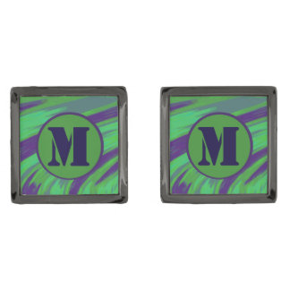 Green Blue Color Swish Monogram Gunmetal Finish Cuff Links