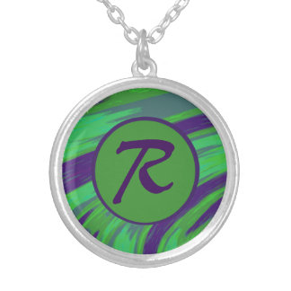 Green Blue Color Swish Monogram Silver Plated Necklace