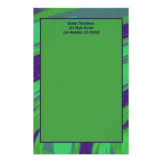 Green Blue Color Swish Stationery Paper
