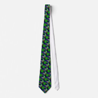 Green & Blue Contemporary Abstract Art Tie