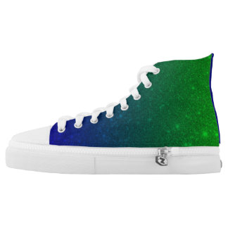 Green/blue Custom Zipz High Top Shoes Printed Shoes