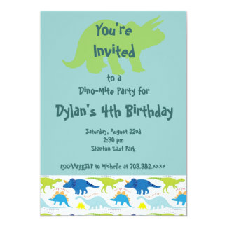 Green & Blue Dinosaur Birthday Party Invitations
