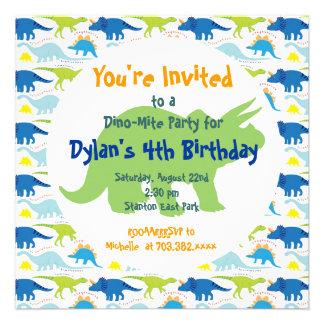 Green Blue Dinosaurs Birthday Party Invitations