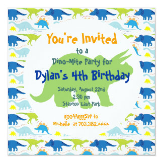 "Green & Blue Dinosaurs Birthday Party Invitations 5.25"" Square Invitation Card"