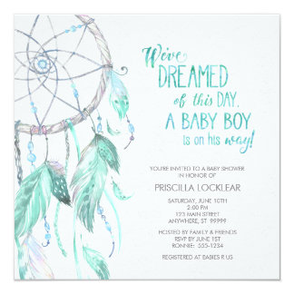 Green/Blue Dreamcatcher Baby Shower Invitation