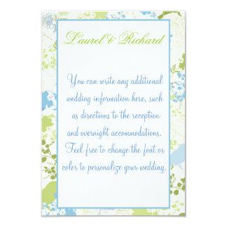 Green & Blue Floral Wedding Reception 9 Cm X 13 Cm Invitation Card
