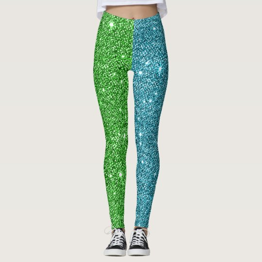 Green+Blue Glitter Athleisure Yoga Pants Leggings