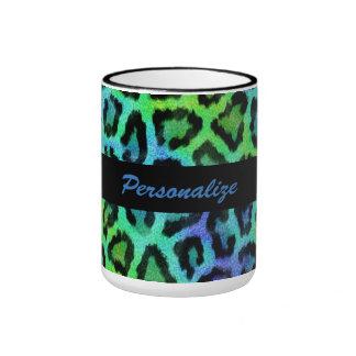 """Green & Blue Leopard Print"" 15 oz Ringer Mug"