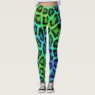 Green Blue Leopard Print Leggings