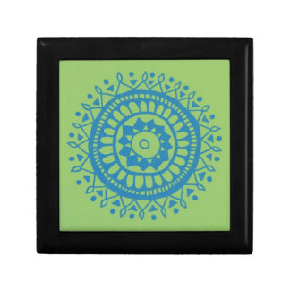 Green Blue lil motif Small Square Gift Box