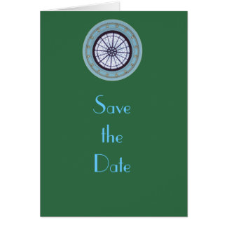 Green & Blue Modern Save the Date Greeting Card
