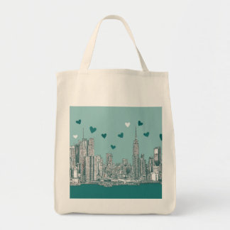 Green-blue NYC valentine Tote Bags